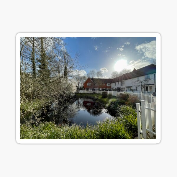 Pond View in Headcorn Village Sticker