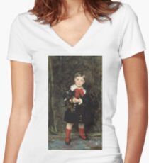 John Singer Sargent - Robert 1879. Child portrait: cute baby, kid, children, pretty angel, child, kids, lovely family, boys and girls, boy and girl, mom mum mammy mam, childhood Women's Fitted V-Neck T-Shirt