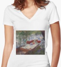 John Singer Sargent - Lady And Child Asleep In A Punt Under The Willows. Mom with baby portrait: sensual woman, love relations, lovely couple, family, valentine's day, romance, female and male Women's Fitted V-Neck T-Shirt