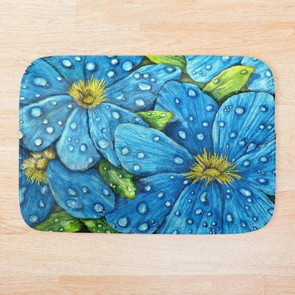 Blue Rain Drops on Flower Bath Mat