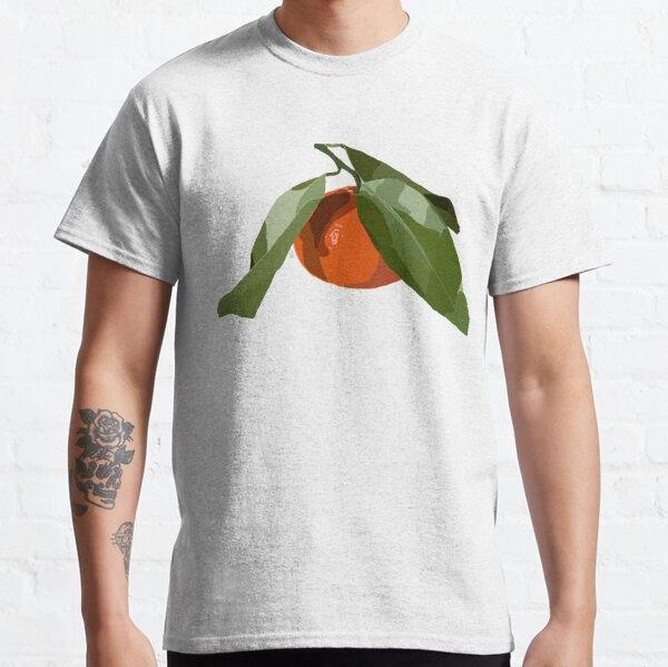 Clementine mit Blättern auf gelb Classic T-Shirt