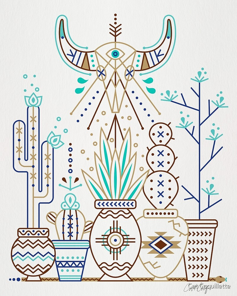 Santa Fe Garden – Turquoise & Brown by Cat Coquillette