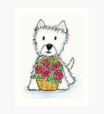 Westie basket of roses delightfully cute! Art Print