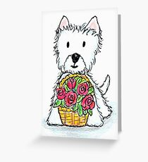 Westie basket of roses delightfully cute! Greeting Card