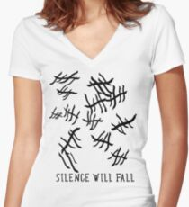 Silence Will Fall | Doctor Who Women's Fitted V-Neck T-Shirt