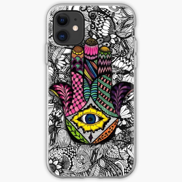 Colorful Hand Drawn Hamsa Hand an Floral Drawings iPhone Soft Case