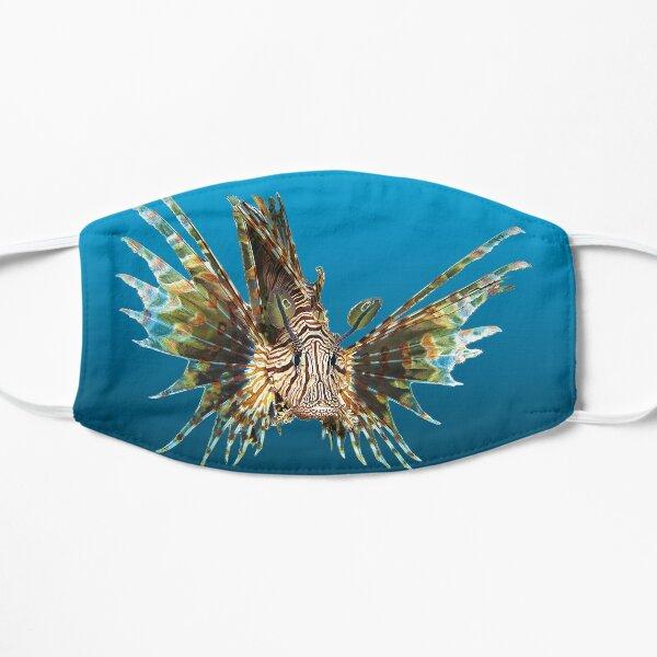 Feuerfisch | Schwebender Fisch auf blauem Hintergrund |  Flache Maske