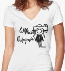 Little Miss Photographer Women's Fitted V-Neck T-Shirt