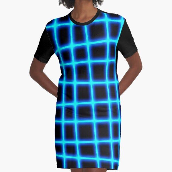 Glowing Neon Grid Graphic T-Shirt Dress