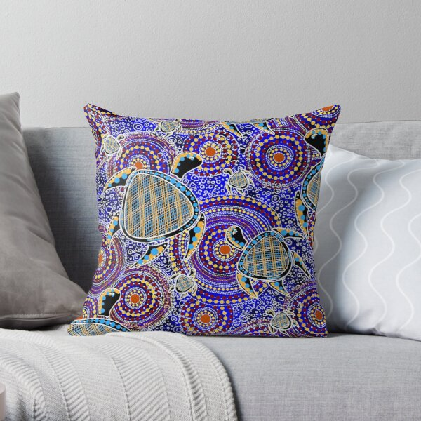 Aboriginal Turtle Art Throw Pillow