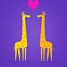 Cute cartoon giraffe couple in Love (Purple Edition) by badbugs