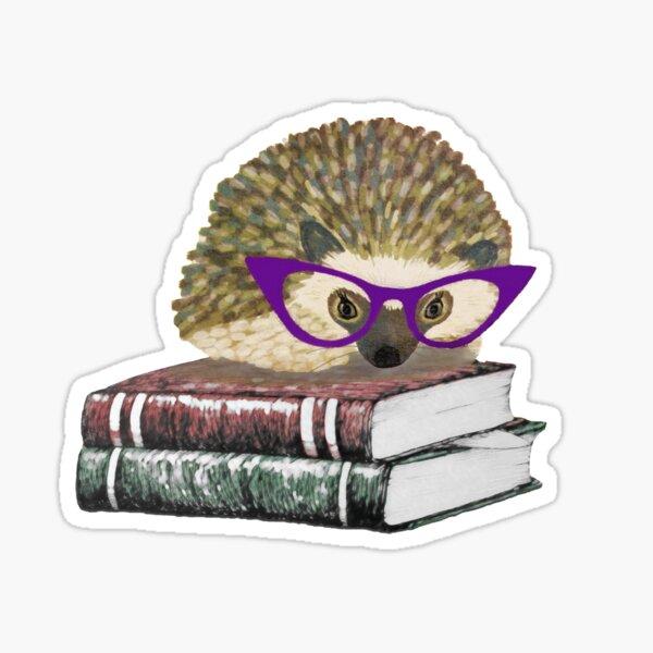 Adorable Literary Hedgehog wearing Glasses Sticker