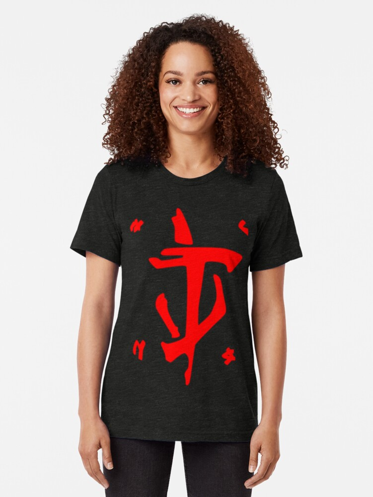 Alternate view of Mark of the Doom Slayer - Red Tri-blend T-Shirt
