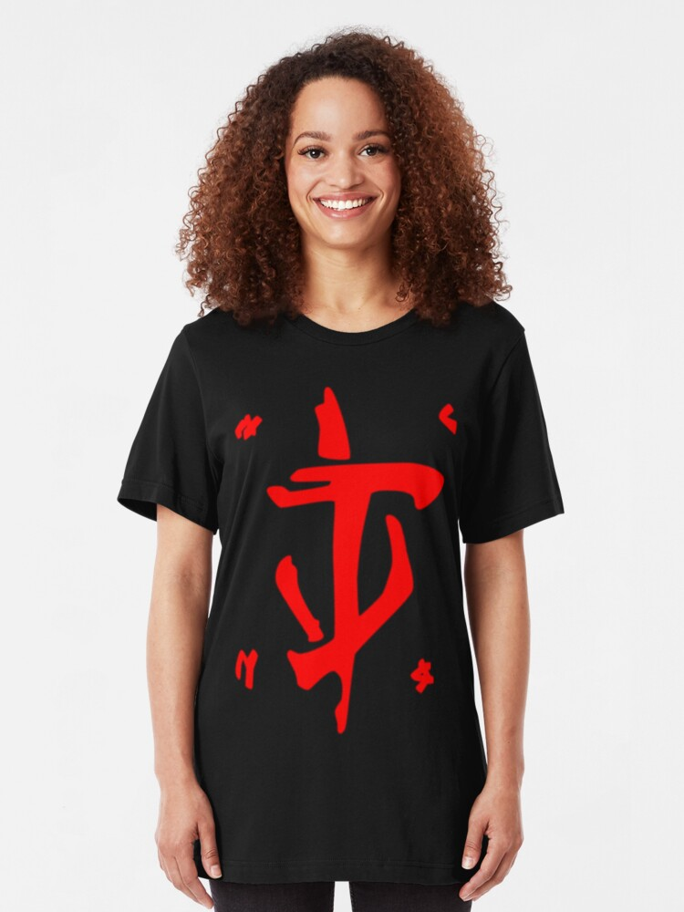 Alternate view of Mark of the Doom Slayer - Red Slim Fit T-Shirt