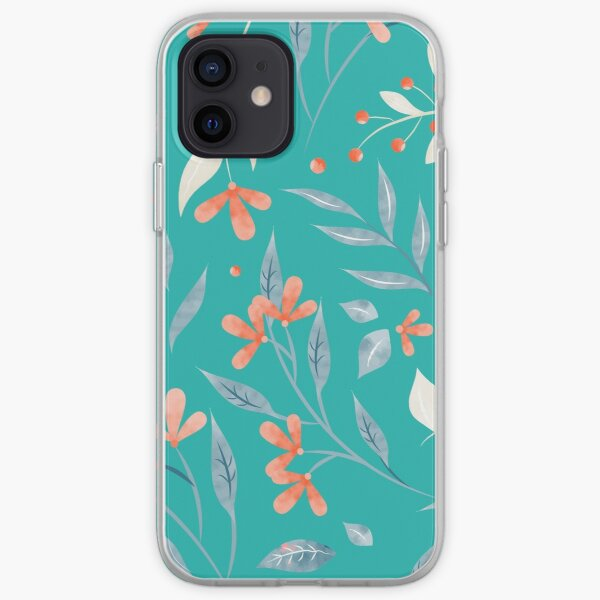 Flowers and Leaves in Aqua  iPhone Soft Case