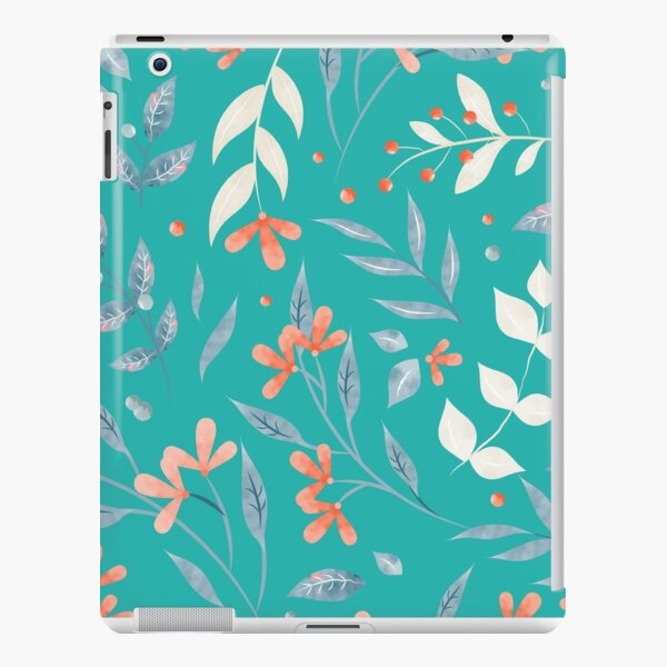 Flowers and Leaves in Aqua  iPad Snap Case