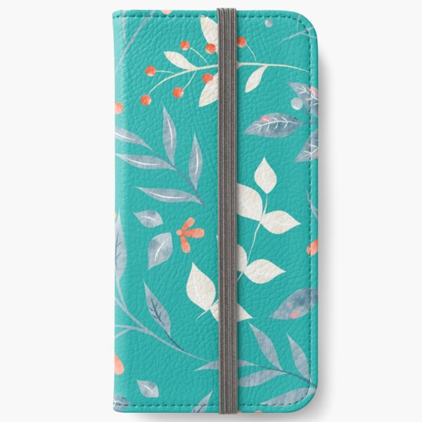 Flowers and Leaves in Aqua  iPhone Wallet