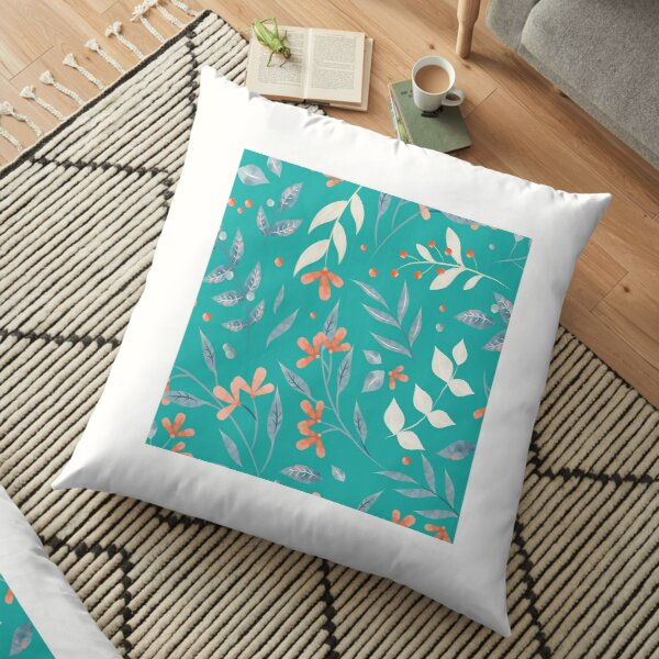 Flowers and Leaves in Aqua  Floor Pillow