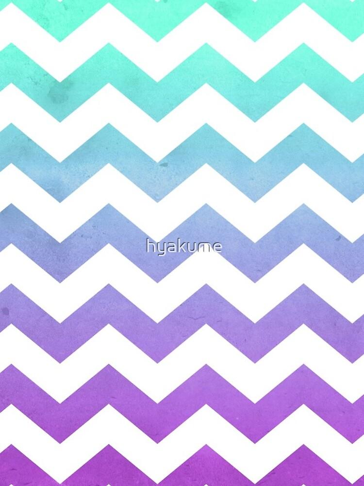 Purple Mint Aqua Ombre Chevron Pattern by hyakume