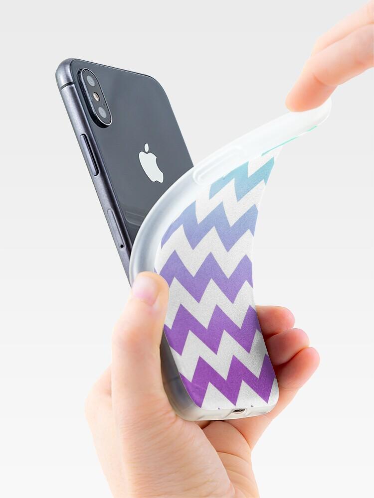 Alternate view of Purple Mint Aqua Ombre Chevron Pattern iPhone Case & Cover