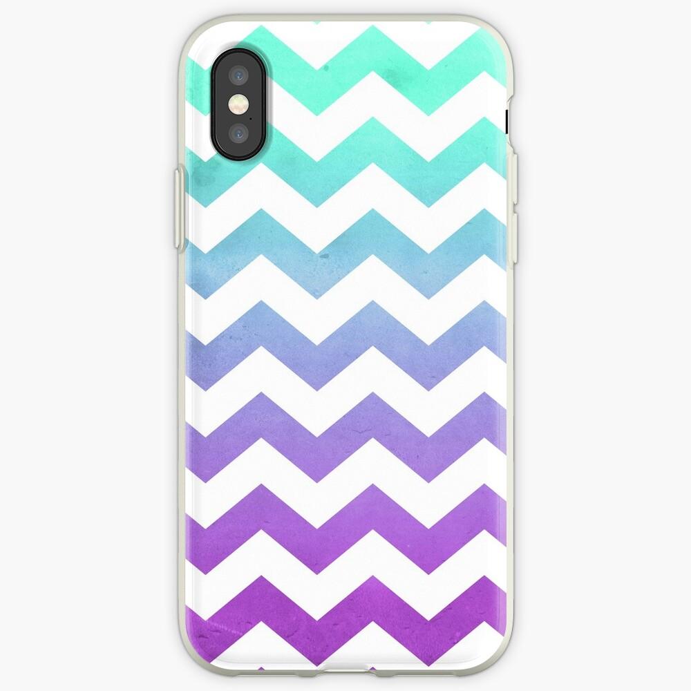 Purple Mint Aqua Ombre Chevron Pattern iPhone Case & Cover