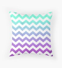 Purple Mint Aqua Ombre Chevron Pattern Throw Pillow