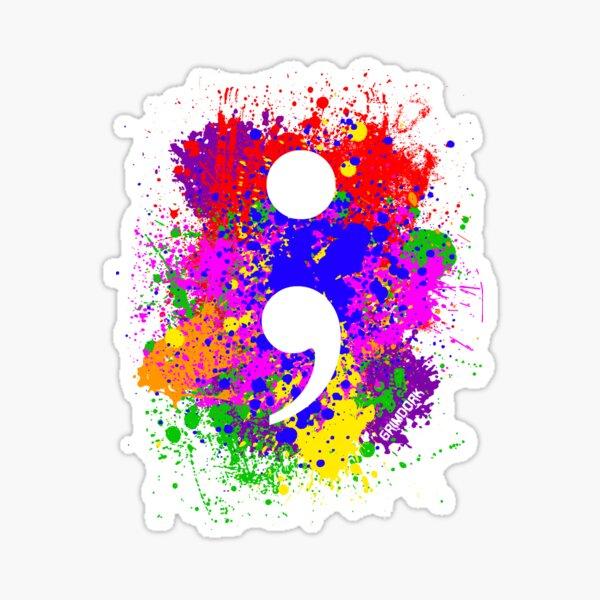 Semicolon Paint Splatter Sticker