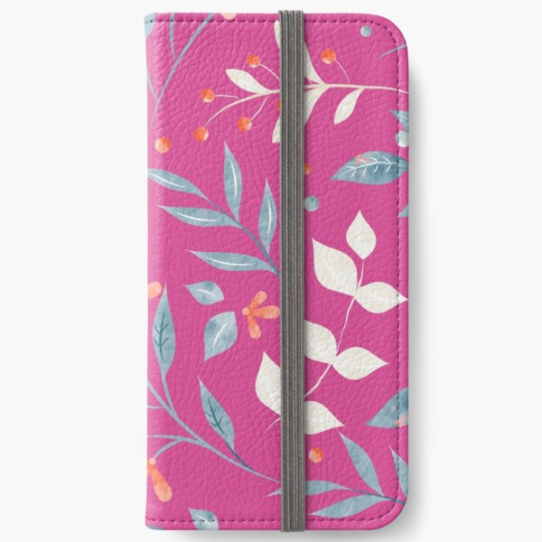 Flowers and Leaves in Pink iPhone Wallet