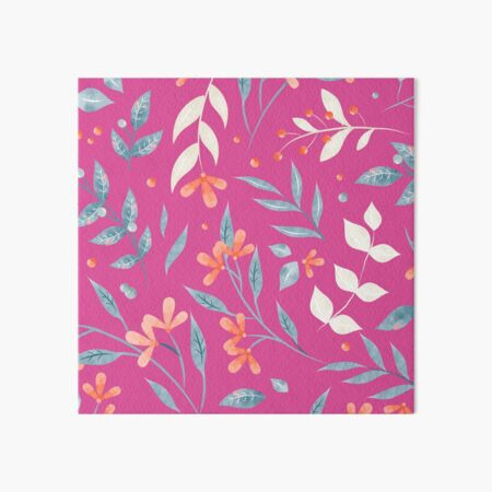 Flowers and Leaves in Pink Art Board Print