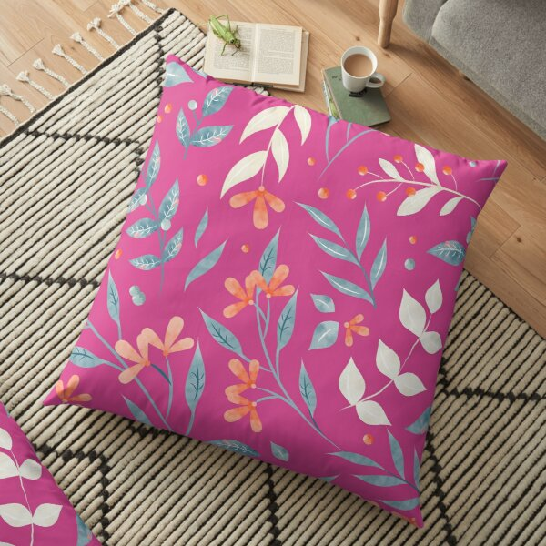 Flowers and Leaves in Pink Floor Pillow