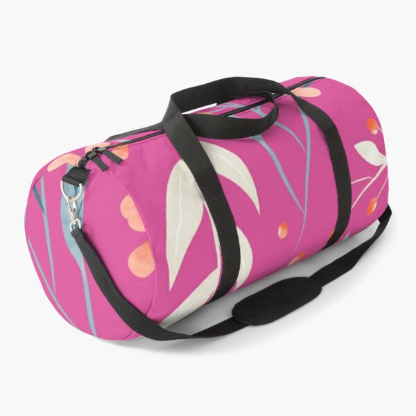 Flowers and Leaves in Pink Duffle Bag