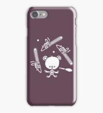 Cute Teddy Juggling 2 Balls, 3 Chainsaws and Club iPhone Case/Skin