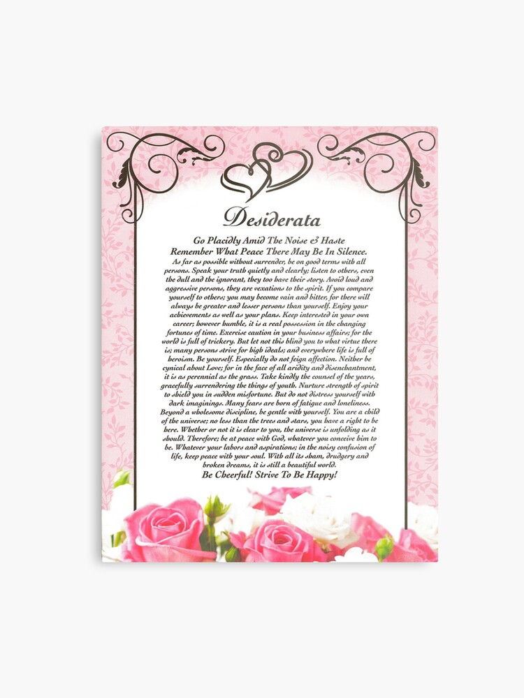 Desiderata Poème Coeurs Et Roses Pour La Saint Valentin Ou Fête Des Mères Impression Métallique