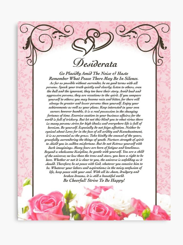 Poema Desiderata Corazones Y Rosas Para San Valentín O Día De La Madre Lienzo