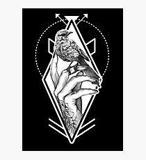Bird In The Tattooed Hand (Black) Photographic Print