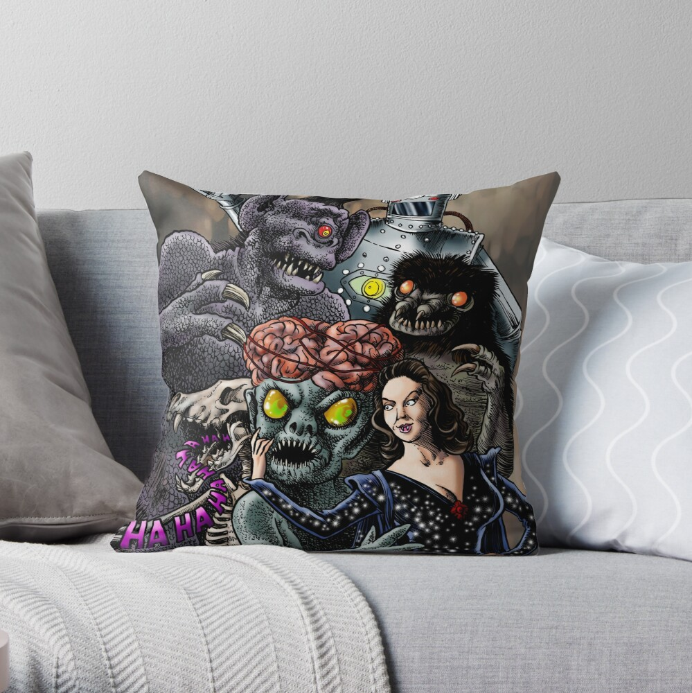 Ship of Monsters Throw Pillow