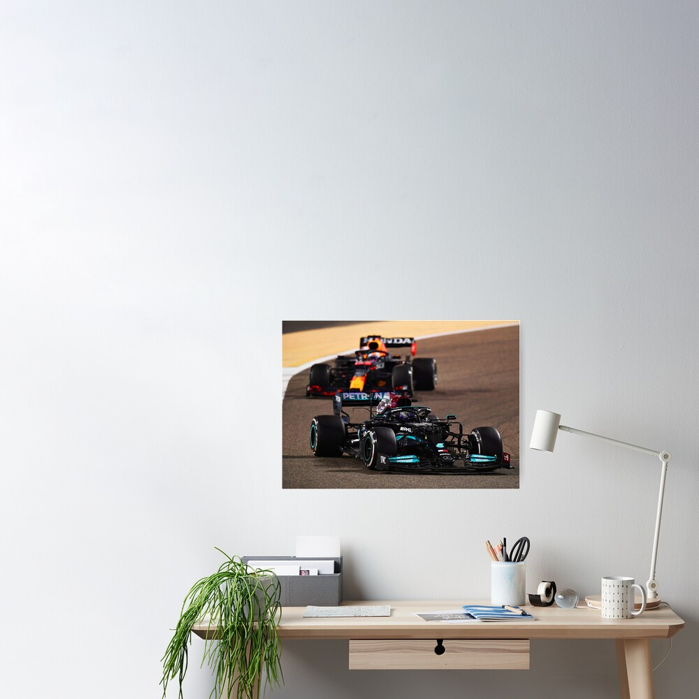 Lewis Hamilton getting hunted by Max Verstappen during the 2021 Bahrein Grand Prix Poster