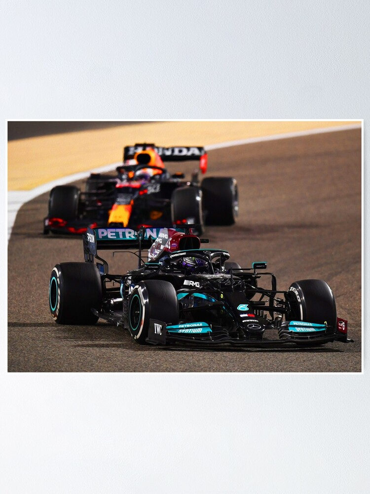 Alternate view of Lewis Hamilton getting hunted by Max Verstappen during the 2021 Bahrein Grand Prix Poster