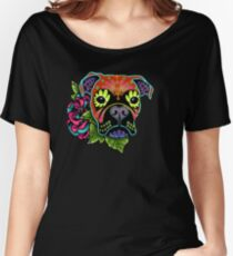 Boxer in Fawn - Day of the Dead Sugar Skull Dog Women's Relaxed Fit T-Shirt