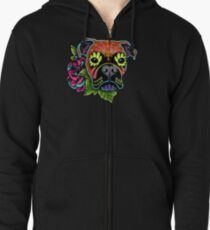 Boxer in Fawn - Day of the Dead Sugar Skull Dog Zipped Hoodie