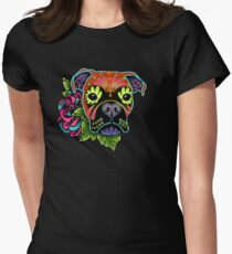 Boxer in Fawn - Day of the Dead Sugar Skull Dog Women's Fitted T-Shirt