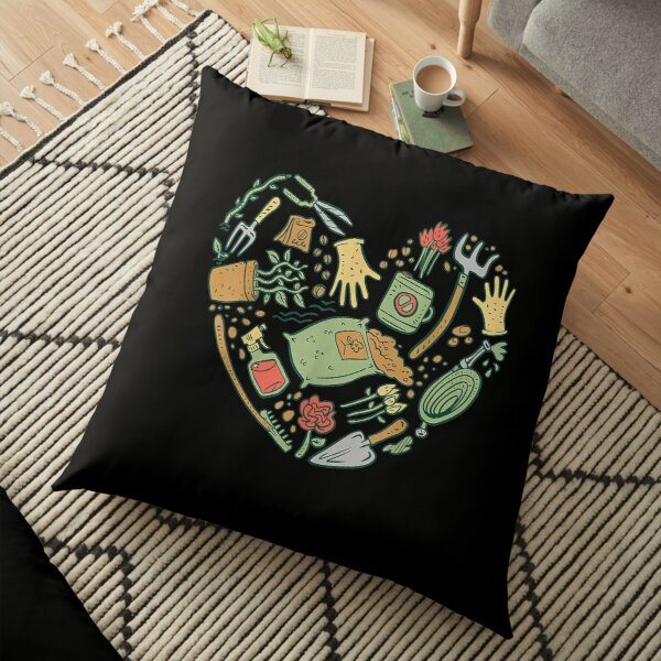 Garden Tools Heart Shaped Graphic  Floor Pillow