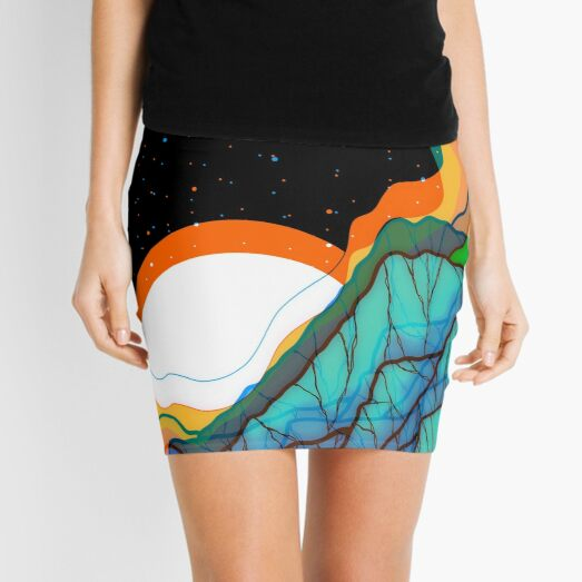 Saturated space mountains Mini Skirt
