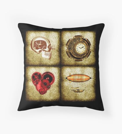 Vintage Steampunk Throw Pillow