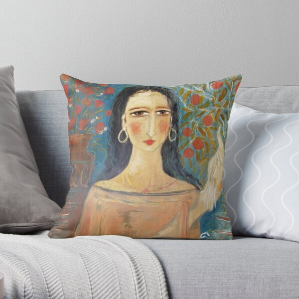 lady with clay pots ( throw pillow) Throw Pillow