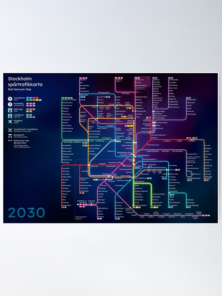 Alternate view of Future Stockholm Rail Network Map Poster