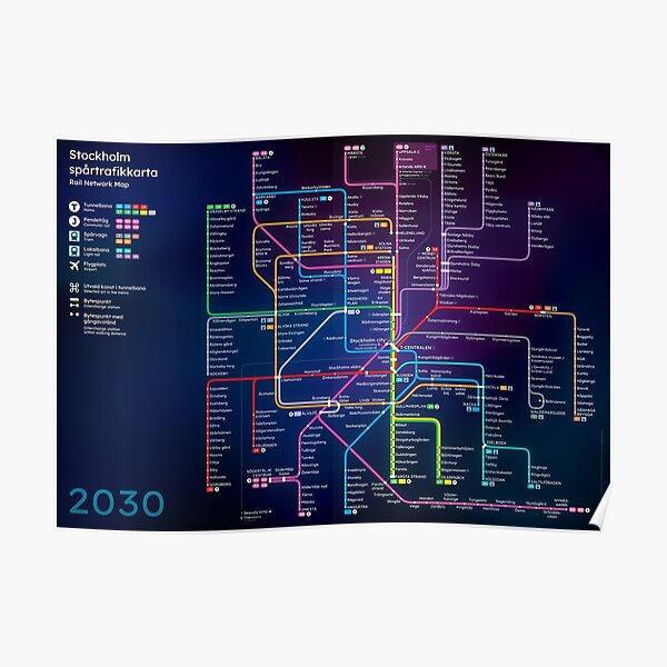 Future Stockholm Rail Network Map Poster