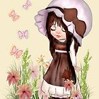 Girl Dreaming in the Garden by LoneAngel