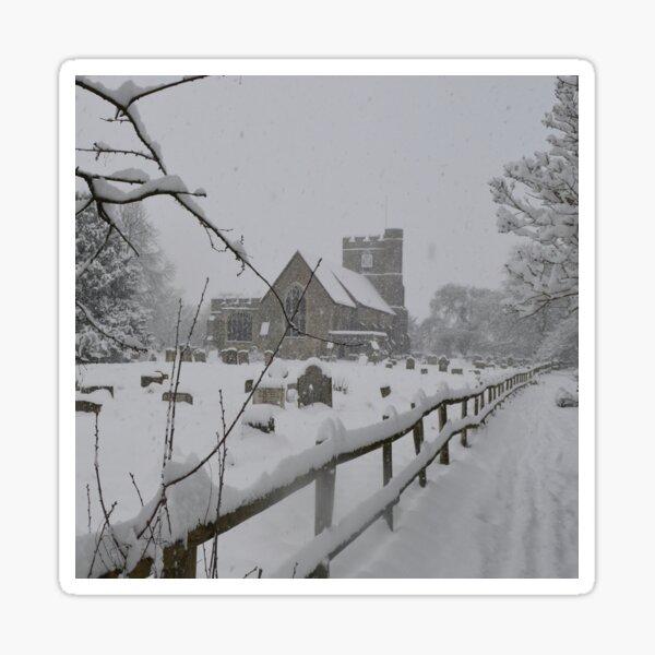 St Peter and St Paul Church in winter, Headcorn, Kent Sticker