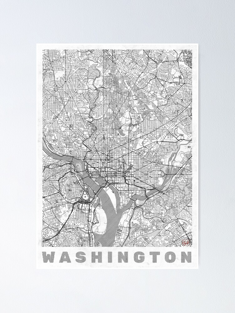 Alternate view of Washington Map Line Poster